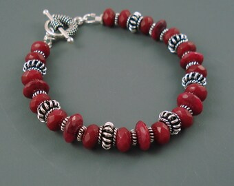 Ruby Bracelet, Natural Ruby with Sterling Silver Ornate Beads and Spacers. Chunky Gemstone Bracelet