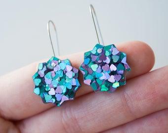 Fallen star small dangle / drop earrings   Peacock glitter   Laser cut acrylic   Handmade