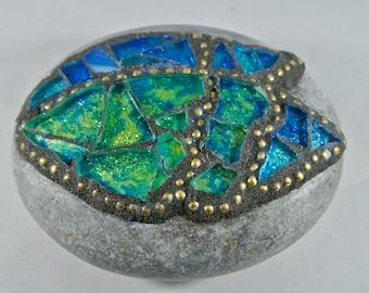 Mosaic Blue-Green Angel Wing Rock, Paperweight, Garden Stone