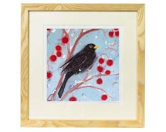 Blackbird on Crabapples Detail Giclee Print - Limited edition print of batik, bird print, blackbird print, bird lover gift, garden bird art