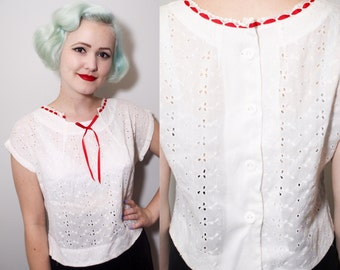 Vintage 1950's White Eyelet Peasant Blouse | Red Ribbon Bow Collar | Semi Sheer Button Up | Medium
