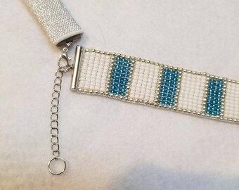 Hand Made Beaded Bracelet or Fitbit Bracelet with 3mm Seed Beads and Silver Metallic Pouch