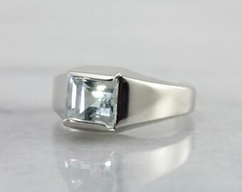 Modernist Aquamarine Men's Ring in White Gold YJCJJW-P