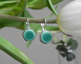 Geometric Mint Dangle Earrings, Minimalist Round Earrings, Mint Green Ceramic Jewelry in a Silver Color Brass Base, Best Friend Jewelry