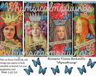 Digital Collage Sheet~ Romantic Visions Bookmarks~ Vintage~ Instant Download~ Craft