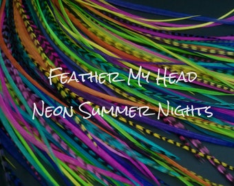 "Feather Hair Extensions - Do It Yourself (DIY) Kit - 16 Pc Thin Feathers - Medium Long 7"" -9"" (18-23cm) Neon Nights Mix"