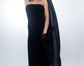 Black maxi dress / Side slit maxi tube dress / Black dress / Slit dress / Strapless dress / Double slit dress