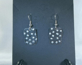 Silver, dangle earrings with black base and silver chips