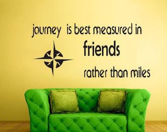 rvz1120 Wall Vinyl Sticker Bedroom Words Sign Quote Journey Friends Compas