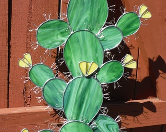 Cactus IN Stock, Stained Glass Sculpture, Yard Art, or Indoor Use