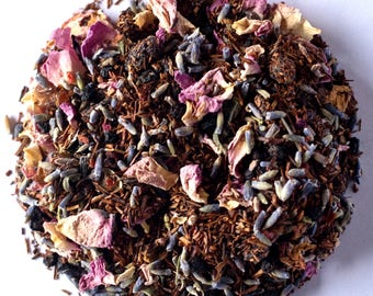 LAVENDER BLISS TEA (Organic Loose Leaf Fragrant, Sweet and Relaxing Rooibos and Herbal Tea Blend) Larger Sizes