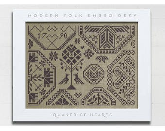 INSTANT DOWNLOAD Quaker of Hearts PDF counted cross stitch pattern by Modern Folk at cottageneedle.com monochromatic love wedding