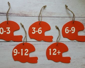 Football Helmet Tags - Baby Closet Tag Organization - Month Size Separators - Baby Shower Gift - Baby Clothes Tags - Baby Boy Room