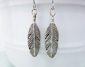 Silver Feather Earrings, bohemian jewelry, jewelry with meaning, woodland earrings, feather jewelry, rustic earrings, dangle earrings, 10042