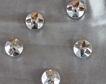 lot, five, buttons, Rhinestones, 15 mm diameter two holes
