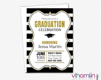 PRINTABLE High School Graduation Invitations - DIY College Graduation Party Invitation | black white gold stripes grad cap