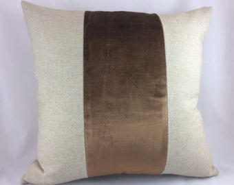 Custom oatmeal linen and chocolate velvet stripe pillow cover