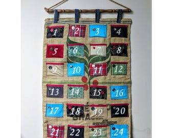 Upcycled Burlap Advent Calendar (Red with Turquoise and Green) Rustic Christmas Eco-Friendly Home Decor 27x38 inches