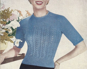 Bairnswear 582 Vintage 1950's Knitting Pattern for Cabled and Open Work Sweater
