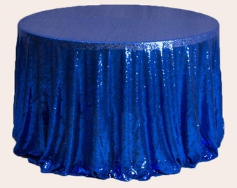 1pcs Royal Blue Glitter Sequin Tablecloth Wedding Engagement Anniversary Reception Ceremony Function Bouquet Christening Birthday Decoration