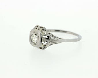 18K Diamond Solitaire Ring with Flowers and Vines