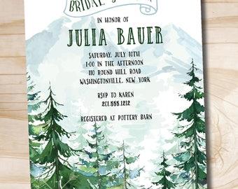 Watercolor Pine Tree Mountain Bridal Baby Shower Invitation - Printable digital file or printed invitations
