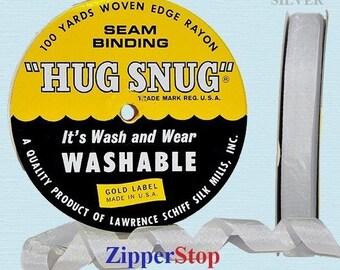 "SILVER - Hug Snug Seam Binding - 100 yard roll 1/2"" Wide - 100% Woven-Edge Rayon - Schiff Ribbon"