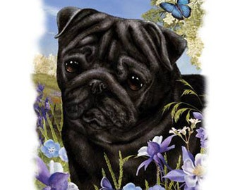 Pug Fabric Panel for Quilt Pillow or Tote 16588