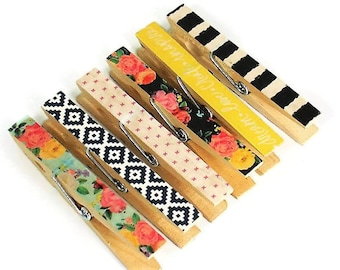 Altered Clothespin Clips Clothespin Magnets  Decorative  Wooden Clothespins  in Favorite Things