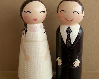 Hand Painted Love Boxes Custom Wedding Bride Groom Cake Topper Kokeshi Peg Dolls Wood