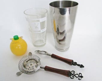 Mr Bartender Glass Cocktail Shaker Boston Drink Mixer w Stainless Steel Collar and Bar Tool Utensils Recipes and Ruler Measure