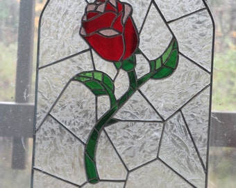 Beauty and the Beast Rose Stained Glass