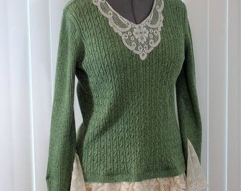 Altered Couture Recycled Sweater Green Size Large Upcycled to Lace Trimmed Shabby Mori Girl Top SWTR4-02