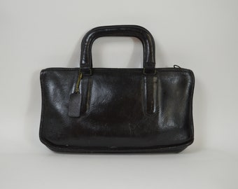 Vintage Coach Bag Made in NYC Black Leather Painted Portfolio Bag with Zipper 2 Top Handles Medium Size Coach Purse