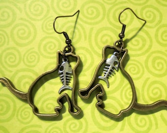 Cat Silhouette and Fish Earrings (3177)