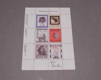 Nick Bantock Griffin and Sabine, Sabine's Notebook, Sabine Strohem Stamp Block Signed Autographed Nick Bantock, Rare