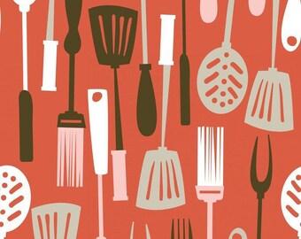 Cotton fabric American BBQ - Blend Fabrics designer Maude Asbury - BBQ utensils - 50 cm (110 x)