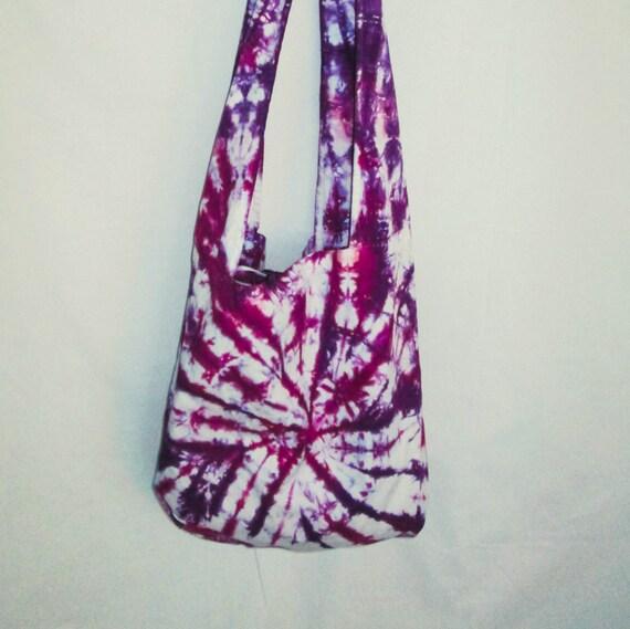 Hand Dyed Tie Dye Boho Bag in Deep Purple & Raspberry/Womens Tie Dye/Eco-Friendly Dying