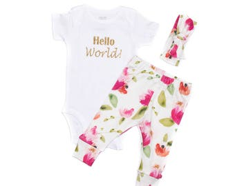 Pink Gatsby Peonies Newborn Take Home Outfit, Gatsby Peonies Leggings, Baby Floral Leggings, Newborn Girl Going Home Outfit Toddler Leggings