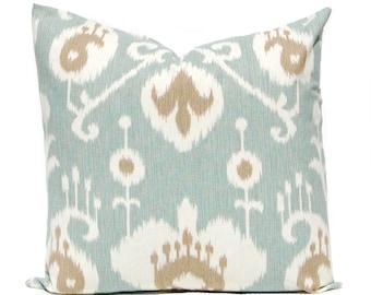 Decorative Pillow Cover  - Seafoam Pillow Cover - Aqua Ikat Pillow Cover - All Size - Cushion Cover - Decorative Pillow Cover - Throw Pillow