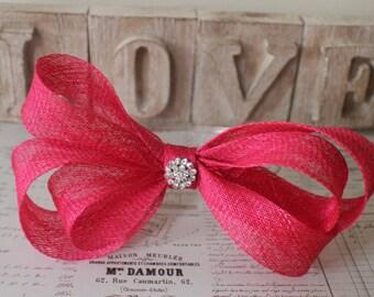 Pink fascinator , Hot pink fascinator , bow headband , wedding headpiece