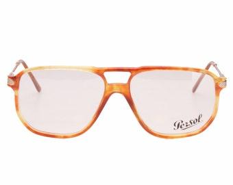 Persol Ratti 9100-B vintage Persol gold edition demi blonde - honey havana & gold double bridge aviator eyeglasses frames, NOS 1980s