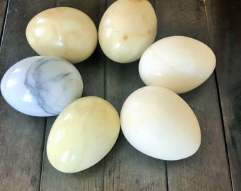 Stone Eggs ~ Set of 6 ~ Hand Carved ~ Easter Decoration ~ Vintage Collectible