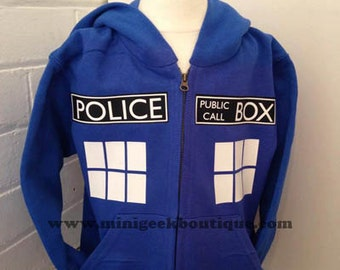 Tardis hoodie, Police Box, Hoodie, dr who inspired, time lord, public call box, zipped hoodie, geek, tardis, whovian, timelord, doctor who