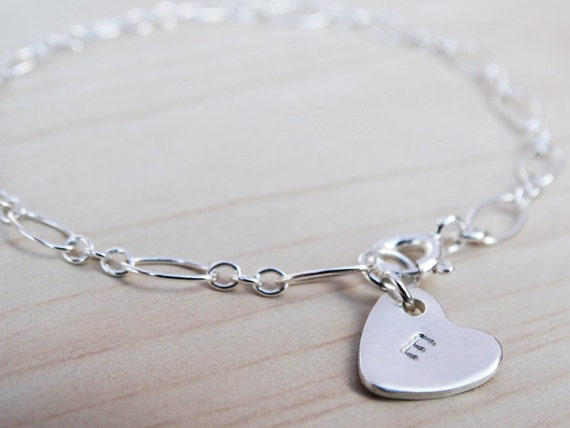 Silver Bracelet With Personalised Heart - Sterling Silver