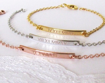 Roman Numeral Jewelry – Gold, Silver or Rose Gold Bar Bracelet Personalized with Special Date