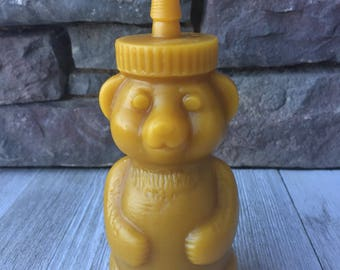 Honey bear Candle ~ Raw ~100% Beeswax ~ Hand Poured ~Small batches
