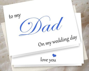 To my Dad on my wedding day, to my father, father of the bride, father of the groom, wedding thank you card,  Free Shipping
