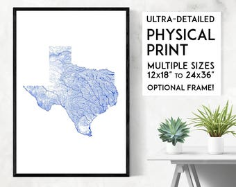 Waterways of Texas print | Physical Texas map print, Texas poster, Texas art, Texas map art, Texas wall art, Texas gift, Map of Texas