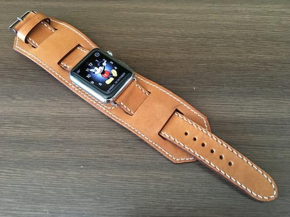 Apple Watch Band | Apple Watch Strap | Vintage Leather Cuff Watch Band | Vintage Khaki Leather Cuff Watch Strap For Apple Watch 42mm